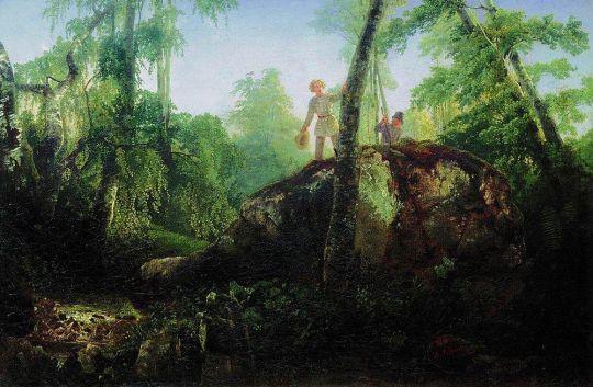 Камень в лесу у Разлива. Вид в имении И.Д.Лужина близ станции Влахернская