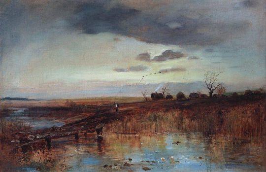 Осень. Деревушка у ручья