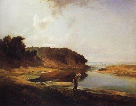 Пейзаж с рекой и рыбаком