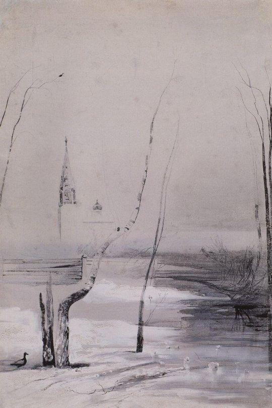 Пейзаж с церковью и колокольней.
