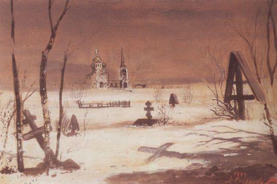 Сельское кладбище в лунную ночь