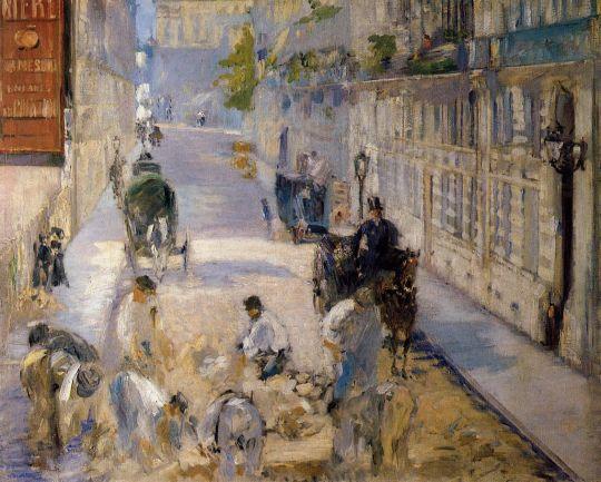 Улица Монье с дорожными рабочими