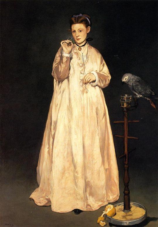Барышня с попугаем