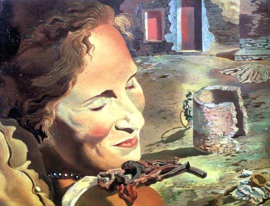 Портрет Галы с двумя ребрышками ягненка, балансирующими на ее плече