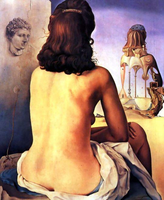 Моя жена, обнаженная, смотрит на собственное тело, ставшее лесенкой, тремя позвонками колонны, небом и архитектурой