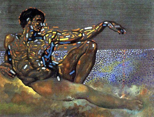 Персонаж, навеянный фигурой Адама, с плафоном Сикстинской капеллы в Риме