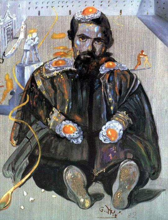 Агнозирующий Веласкес слева за окно, в точке, из которой исходит половник