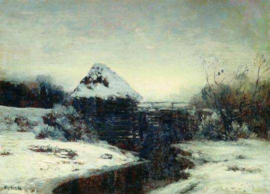 Зимний пейзаж с мельницей.