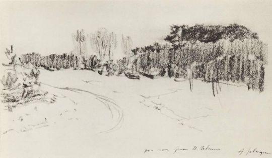 Зимняя дорога в лесу.