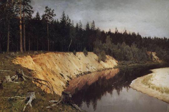 Лесистый берег. Сумерки.