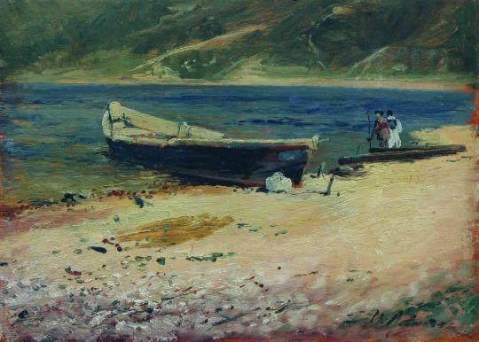 Лодка на берегу.