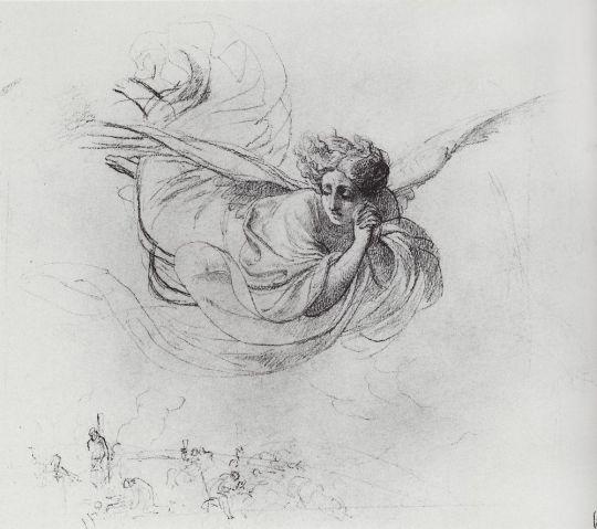 Летящий ангел, оплакивающий жертвы инквизиции.