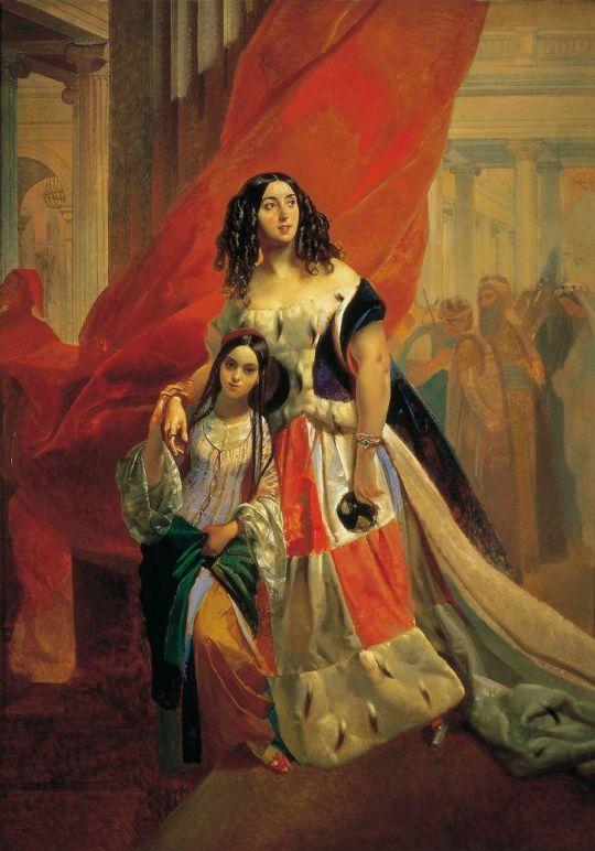 Портрет графини Юлии Павловны Самойловой, удаляющейся с бала с приёмной дочерью Амацилией Паччини. Не позднее