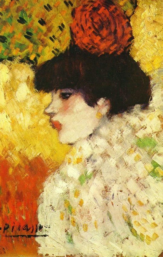 Профиль молодой женщины (девушка с красным цветком).