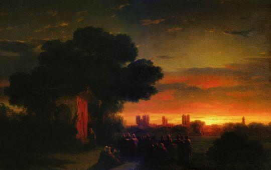 Вид в Крыму при закате солнца