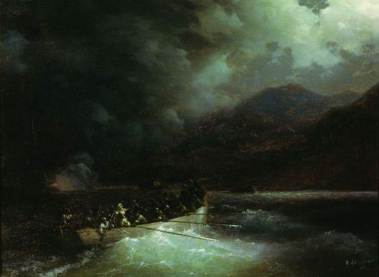 Героиня Боболина с охотниками прорывается под градом выстрелов на катере сквозь турецкий флот, блокировавший Навина в 1827 году