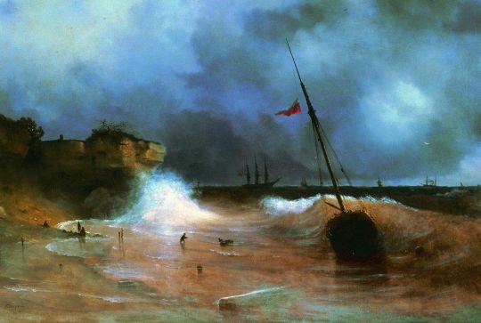 Конец бури на море