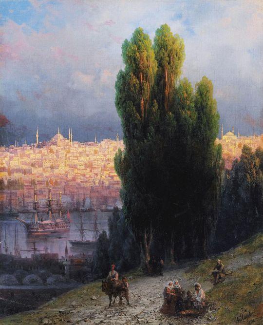 Константинополь. Вид на бухту Золотой Рог с автопортретом рисующего художника