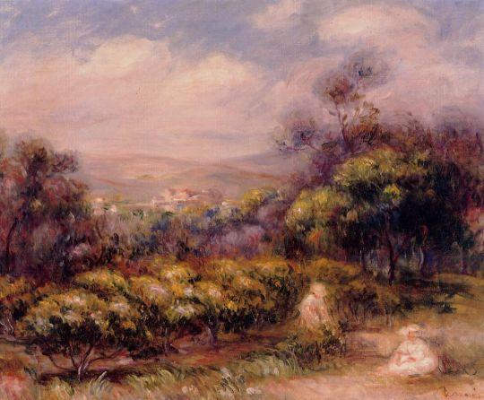 Кань, пейзаж с женщиной и ребенком