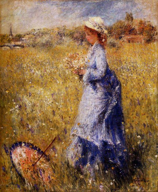 Девушка, собирающая цветы