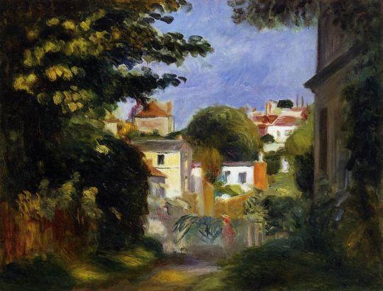 Дом и фигура среди деревьев