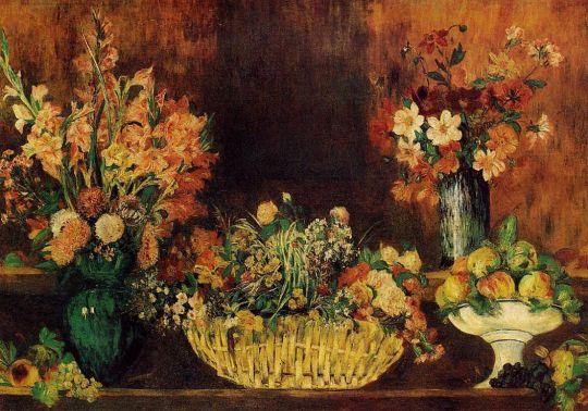 Ваза, корзина цветов и фрукты