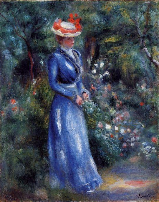 Дама в синем платье в саду сен клу
