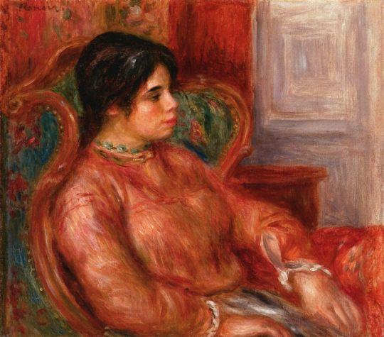Женщина в зеленом кресле
