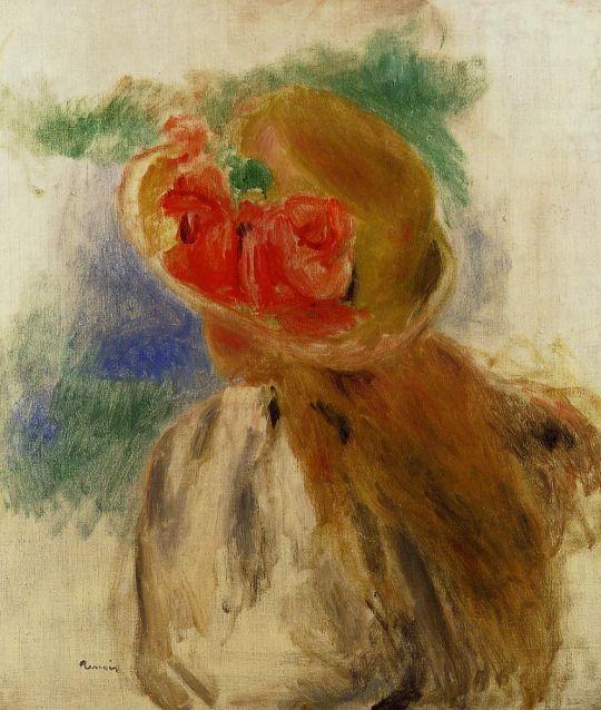 Девочка в шляпке, украшенной цветами