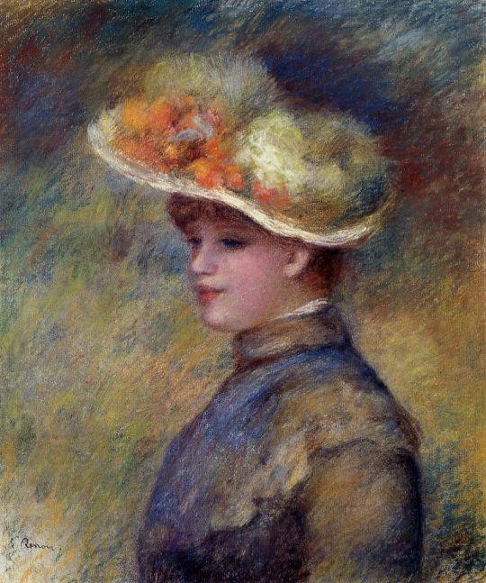 Девушка в шляпе, украшенной дикими розами