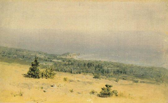 Вид на берег и море с гор. Крым.