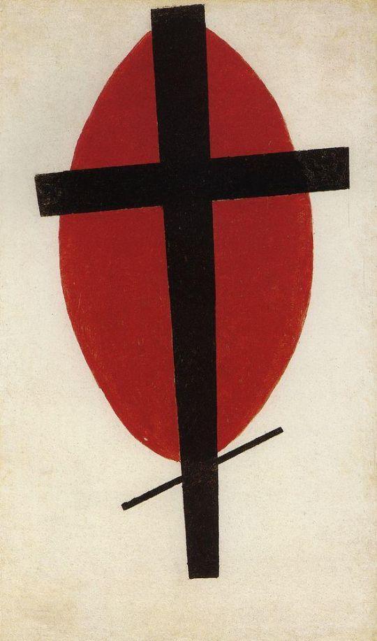 Супрематизм (Черный крест на красном овале)