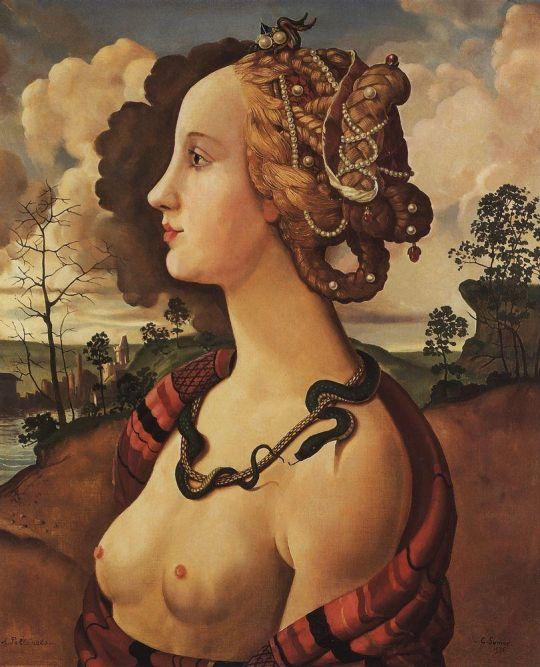 Копия портрета Симонетты Веспуччи работы Пьеро ди Козимо (1642-1521)