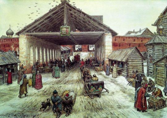 Воскресенский мост в XVII веке.