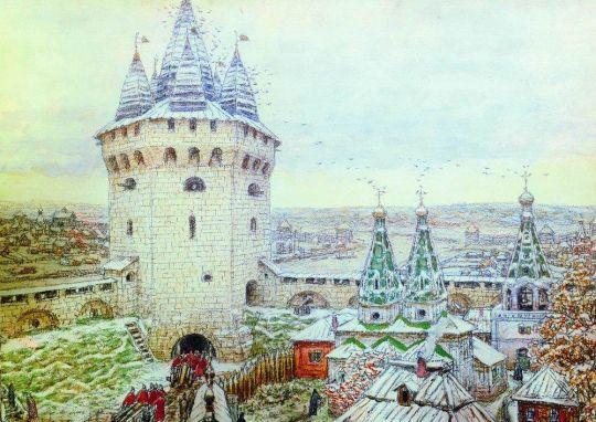 Семиверхая угловая башня Белого города в XVII веке.