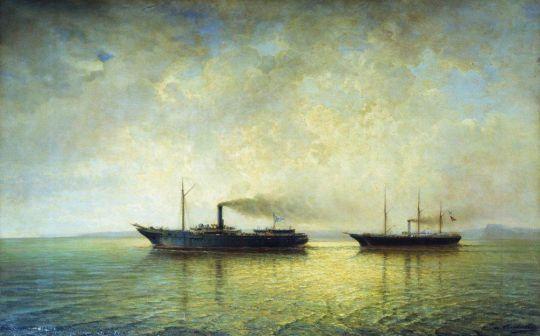 Взятие вооруженным пароходом Россия турецкого транспорта Мерсина 13 декабря 1877 года