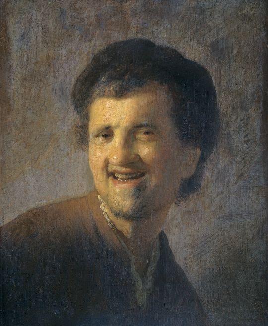 Бюст смеющегося молодого человека