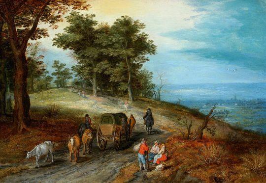 Пейзаж с каретой и крестьянами у дороги (Частная коллекция)