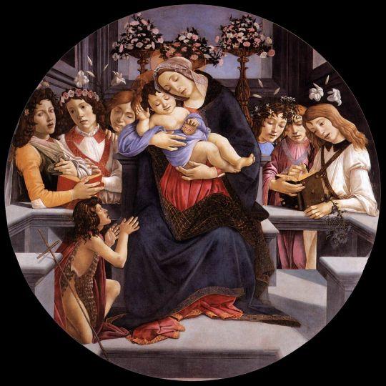 Мадонна с младенцем, шестью ангелами и св.Иоанном Крест. (1488-1490) (Рим, галерея Боргезе)