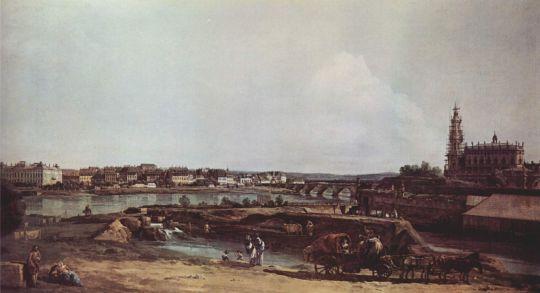 Вид Дрездена с левого берега Эльбы. Бастион Соль, мост Августа и придворная церковь (1748)