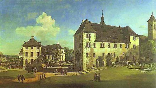 Вид на внутренний двор замка в Конингштайне с юга (середина 18 в)