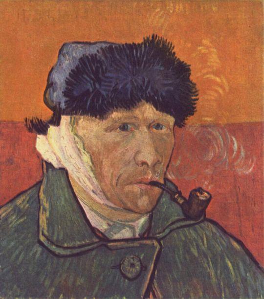 """""""Автопортрет с перевязанным ухом и трубкой."""" Арль, январь 1889."""