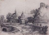 Пейзаж с церковью и руинами