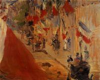 Улица Монье украшенная флагами