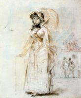 Девушка на прогулке с зонтиком