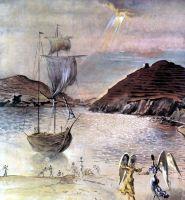 Вид Порт-Льигата с Ангелом-хранителем и рыбаками