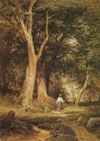Женщина с мальчиком в лесу.