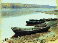 Волжский пейзаж. Лодки у берега.