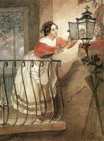 Итальянка, зажигающая лампаду перед образом мадонны.