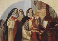 Монахини монастыря Святого Сердца в Риме, поющие у органа.